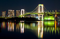 Tokyo Skyline at night and the Rainbow Bridge