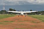Gaston Ntambo, a United Methodist missionary, lands a Cessna P210 on the airstrip in Kamina in the Democratic Republic of the Congo. Ntambo and the plane are part of the Wings of the Morning aviation ministry of The United Methodist Church, and provide life-saving access to isolated rural communities.