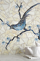 Chinoiserie, a hand cut jewel glass mosaic shown in Marcasite, Pewter and Mica with Quartz sea glass, is part of the Delft Collection by Sara Baldwin for New Ravenna Mosaics.