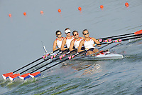 Brest, Belarus.  USA W4X. Bow. Helen TOMPKINS,  Nicole LIELAWSKI, Desiree BURNS and Emily DREISSIGACKER, at the start, 2010. FISA U23 Championships. Friday,  23/07/2010.  [Mandatory Credit Peter Spurrier/ Intersport Images]