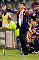 CD Chivas USA headcoach Martin Vasquez looking for a call from the ref. The Philadelphia Union and CD Chivas USA played to 1-1 draw at Home Depot Center stadium in Carson, California on Saturday evening July 3, 2010..