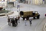 Nablus West Bank Israel. Israeli soldiers Palestinian women, despair, they have just been firing on demonstrators.   1980s Middle East.