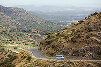Eritrea. Debub province. Public blue bus on the mountain road from Shiketi to Asmara. © 2006 Didier Ruef