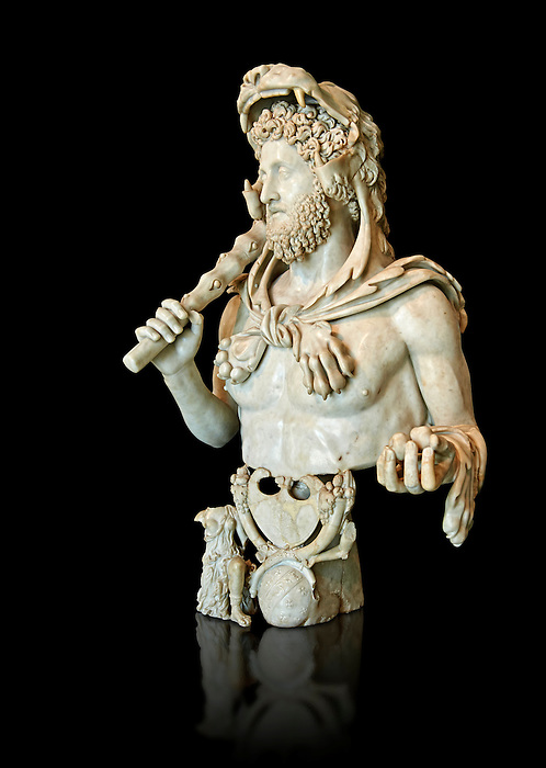 Roman marble bust of Commodus as Hercules. Circa191-192 AD found in an underground chamber in the Horti Lamiani area of Rome. The son of Marcus Aurelus is shown with the features of Hercules and is characterised by Greek hero's attributes: the lion's skin, the club, the apples of Hesperides. The character is accompanied by fantastic sea creatures in a composition symbolising his apotheosis. The work can be dated to the final period of the life of Commodus, between 191-192 AD. . MC.1120 Capitoline Museums, Rome