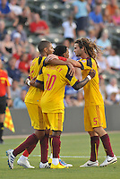 Alvaro Saborio, Robbie Findley, Kyle Beckerman celebrate Findley's equalizing goal...Kansas City Wizards and Real Salt Lake played to a 1-1 tie at Community America Ballpark, Kansas City, Kansas.