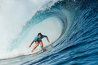 Namotu Island, Fiji (Tuesday, June 2, 2015) Alessa Quizon (HAW) - Action continued today at the fifth stop on the 2015 WSL Championship Tour (CT), the Fiji Women&rsquo;s Pro, with a day of high drama and high scores. The world&rsquo;s best female surfers posted four nine-point rides as competition ran through Rounds 2 and 3 in solid surf at Cloudbreak. <br />  <br /> Rookie Tatiana Weston-Webb (HAW) was the standout of the day, claiming both the highest heat total and single-wave score, while defending event winner Sally Fitzgibbons (AUS) suffered a perforated eardrum in the heavy conditions but still made it through to the Quarterfinals.<br />  <br /> Weston-Webb (HAW) had an impressive run of form, looking confident and at ease on her forehand in the sizable surf. She started with a convincing victory over Sage Erickson (USA) in Round 2, pulling into the wave of the day for a long, deep tube and earning a near-perfect 9.73 (out of a possible 10). The young Hawaiian went on to face Jeep Leaderboard No. 1 and two-time World Champion Carissa Moore (HAW) and Coco Ho (HAW) in Round 3 where another nine-point ride saw her take the top spot and a place in the Quarterfinals, sending her opponents to Round 4.<br /> <br /> The surf was in the 4'-6' range with light winds for most of the morning. A light onshore came up early afternoon and the swell became inconsistent.   Photo: joliphotos.com
