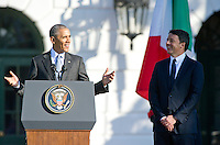 United States President Barack Obama makes remarks as he hosts an arrival ceremony at the start of an Official Visit in honor of Prime Minister Matteo Renzi, right, and Mrs. Agnese Landini of Italy on the South Lawn of the the White House in Washington, DC on Tuesday, October 18, 2016. <br /> Credit: Ron Sachs / CNP /MediaPunch