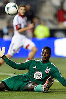 D. C. United goalkeeper Bill Hamid (28) makes a kick save. The Philadelphia Union defeated D. C. United 2-0 during a Major League Soccer (MLS) match at PPL Park in Chester, PA, on August 10, 2013.