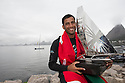 The Wave Muscat bowman Hashim Al Rashdi (OMA) celebrates after winning the 2012 Extreme Sailing Series.Credit: Lloyd Images.