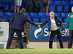 St Johnstone v FC Spartak Trnava...31.07.14  Europa League 3rd Round Qualifier<br /> Spartak Trnava boss Juraj Jarabek shakes hands with Tommy Wright at full time<br /> Picture by Graeme Hart.<br /> Copyright Perthshire Picture Agency<br /> Tel: 01738 623350  Mobile: 07990 594431