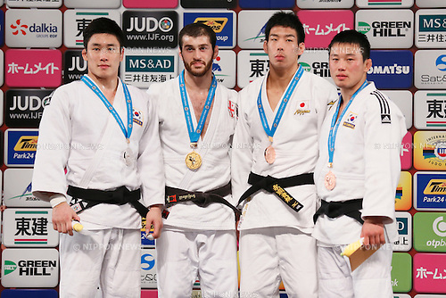 (L-R) Seungsu Lee (KOR), Avtandili Tchrikishvili (GEO), Takanori Nagase (JPN), Ki-Chun Wang (KOR), DECEMBER 5, 2015 - Judo : IJF Grand Slam Tokyo 2015 International Judo Tournament Men's -81kg Award Ceremony at Tokyo Metropolitan Gymnasium, Tokyo, Japan. (Photo by Sho Tamura/AFLO SPORT)