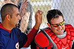 25 February 2007: Washington Nationals catcher Brian Schneider (right) is jokingly taunted by pitcher Luis Ayala (left) after batting practice at their spring training facility in Viera, Florida.<br /> <br /> Mandatory Photo Credit: Ed Wolfstein Photo