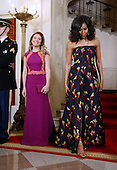 First Lady Michelle Obama, right, and Mrs. Sophie Gr&eacute;goire Trudeau, left,   walk inside the White House March 10, 2016 in Washington,D.C. <br /> Credit: Olivier Douliery / Pool via CNP