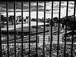 The river Tyne viewed through railings
