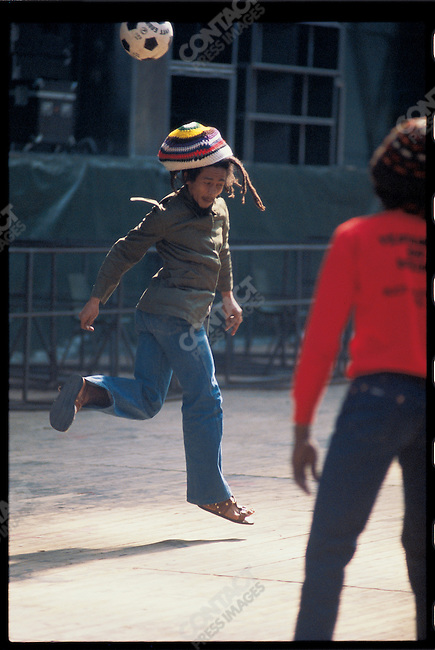 Bob Marley and the Wailers play improvised soccer at the stadium in Brussels, during the Exodus Tour. Belgium, May 1977.