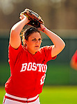 25 April 2009: Boston University Terriers' pitcher Megan Currier, a Junior from Torrance, CA, in action against the University of Vermont Catamounts at Archie Post Field in Burlington, Vermont. Sadly, the Catamounts are playing their last season of softball, as the program has been marked for elimination due to budgetary constraints at the University. Mandatory Photo Credit: Ed Wolfstein Photo