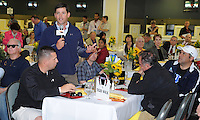 Tom Mullikin talks about Tiger Walk's chances in the Preakness at the Alibi Breakfast at Pimlico Race Course in Baltimore, Maryland  on May 17, 2012