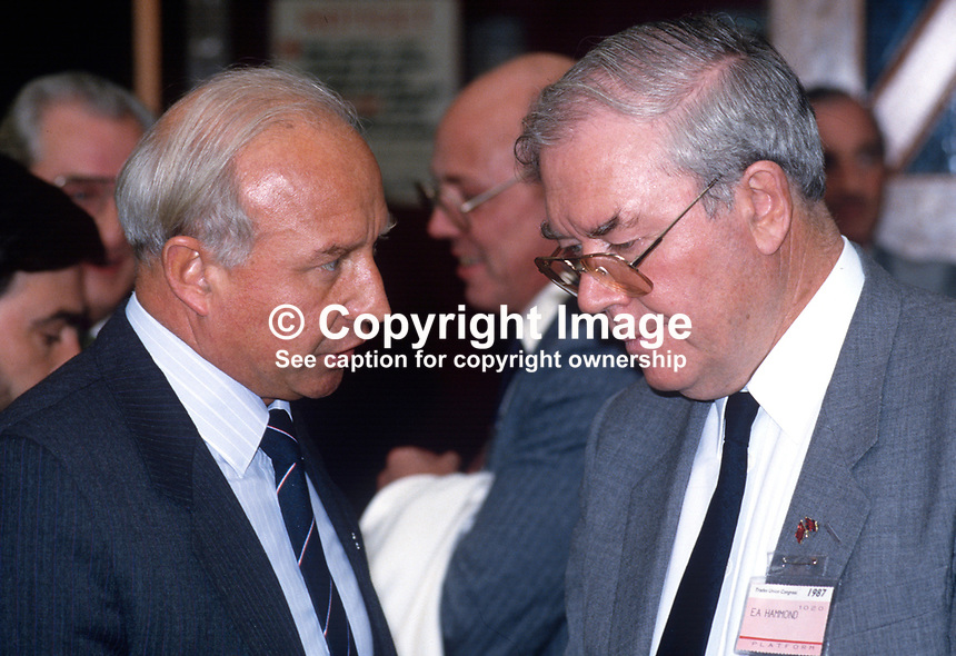 Gavin Laird, general secretary, AUEW, left, in conversation with fellow trade unionist, Eric Hammond, general secretary, EEPTU, at annual conference of the TUC, Trades Union Congress, UK, 19870917GL+EH..Copyright Image from Victor Patterson, 54 Dorchester Park, Belfast, UK, BT9 6RJ..Tel: +44 28 9066 1296.Mob: +44 7802 353836.Voicemail +44 20 8816 7153.Skype: victorpattersonbelfast.Email: victorpatterson@me.com.Email: victorpatterson@ireland.com (back-up)..IMPORTANT: If you wish to use this image or any other of my images please go to www.victorpatterson.com and click on the Terms & Conditions. Then contact me by email or phone with the reference number(s) of the image(s) concerned.