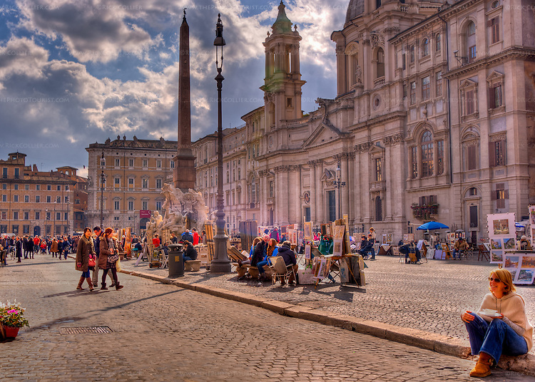 Artists display their wares on nice days around the Fountain of Four Rivers in Rome's Piazza Navona.  (HDR image, Rome, Italy)