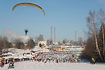 Flying Paraplan Over Participants in Tartu Ski Marathon, Valga County, Estonia