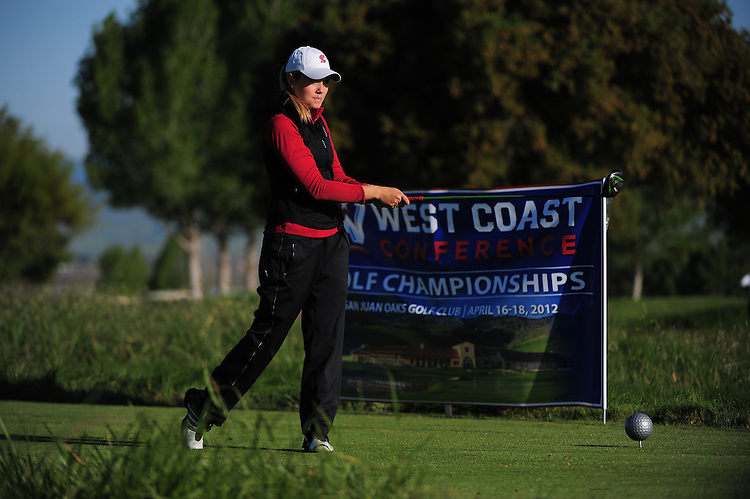 April 17, 2012; Hollister, CA, USA; Santa Clara Broncos golfer Kelsy O'Brien during the WCC Golf Championships at San Juan Oaks Golf Club.