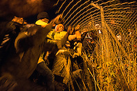 Migrants attempt to break into entrance to the Channel Tunnel near Calais - France