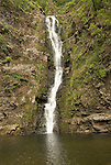 Hawaii: Molokai, Moaula Waterfall in the Halawa Valley..Photo himolo128-72032.Photo copyright Lee Foster, www.fostertravel.com, lee@fostertravel.com, 510-549-2202