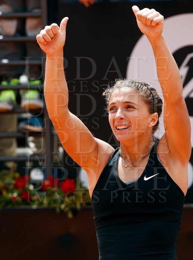 L'italiana Sara Errani agli Internazionali d'Italia di tennis a Roma, 16 maggio 2014.<br /> Italy's Sara Errani during the Italian open tennis tournament, in Rome, 16 May 2014.<br /> UPDATE IMAGES PRESS/Riccardo De Luca
