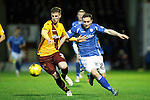 Motherwell v St Johnstone..30.12.15  SPFL  Fir Park, Motherwell<br /> Ben Hall and Chris Kane battle<br /> Picture by Graeme Hart.<br /> Copyright Perthshire Picture Agency<br /> Tel: 01738 623350  Mobile: 07990 594431