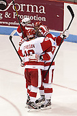 Danny O'Regan (BU - 10), Matt Nieto (BU - 19), Evan Rodrigues (BU - 17) - The Boston University Terriers defeated the visiting Northeastern University Huskies 5-0 on senior night Saturday, March 9, 2013, at Agganis Arena in Boston, Massachusetts.