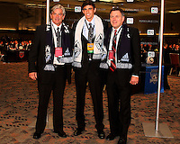 Vancouver Whitecaps coaches with Omar Salgado at the 2011 MLS Superdraft, in Baltimore, Maryland on January 13, 2010.