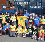 Wes Foderingham at Ibrox as he takes up his role as one of Kick It Out's 'Next 20' ambassadors with Paul Mortimer and delivers an anti-discrimination workshop to local schoolchildren from St Saviour's Primary School in Glasgow in the Rangers study and support centre
