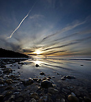 Vertical Panorama of Totland Bay with Cirrus Clouds at Sunset. <br />