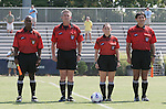 23 September 2007: Match officials. From left: Assistant Referee David McPhun, Fourth Official Ernie Fisher, Referee Sandra Serafini, Assistant Referee Abbas Piran. The University of North Carolina Tar Heels defeated the University of San Francisco Dons 2-0 at Koskinen Stadium in Durham, North Carolina in an NCAA Division I Women's Soccer game, and part of the annual Duke Adidas Classic tournament.
