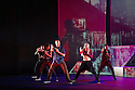 London, UK. 18.10.2013. Boy Blue Entertainment perform THE FIVE AND THE PROPHECY OF PRANA at the Barbican theatre. Dancers are: Michele 'Paleta' Rhyner, Bradley 'Bradz' Charles, Theo 'Godson' Oloyade, Kofi 'Klik' Mingo, Xena Gusthart, Vicky 'Skytilz' Mantey, Duwane Taylor, Kayla Lomas-Kirton, shaun Smith, Hakim Saber and Jumar Aben. Picture shows: Kofi 'Klik' Mingo, Jumar Aben, Bradley 'Bradz' Charles, Xena Gusthart, Theo 'Godson' Oloyade. Photograph © Jane Hobson.