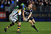 Rhys Priestland of Bath Rugby looks to pass the ball. European Rugby Champions Cup match, between Bath Rugby and Wasps on December 19, 2015 at the Recreation Ground in Bath, England. Photo by: Patrick Khachfe / Onside Images