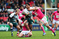 Manu Tuilagi of Leicester Tigers takes on the Stade Francais defence. European Rugby Champions Cup quarter final, between Leicester Tigers and Stade Francais on April 10, 2016 at Welford Road in Leicester, England. Photo by: Patrick Khachfe / JMP