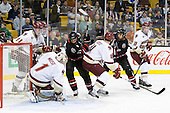 Pat Mullane (BC - 11), Patrick Wey (BC - 6), John Muse (BC - 1), Justin Daniels (Northeastern - 11), Tommy Cross (BC - 4), Drew Ellement (Northeastern - 2), Jimmy Hayes (BC - 10) - The Boston College Eagles defeated the Northeastern University Huskies 5-4 in their Hockey East Semi-Final on Friday, March 18, 2011, at TD Garden in Boston, Massachusetts.