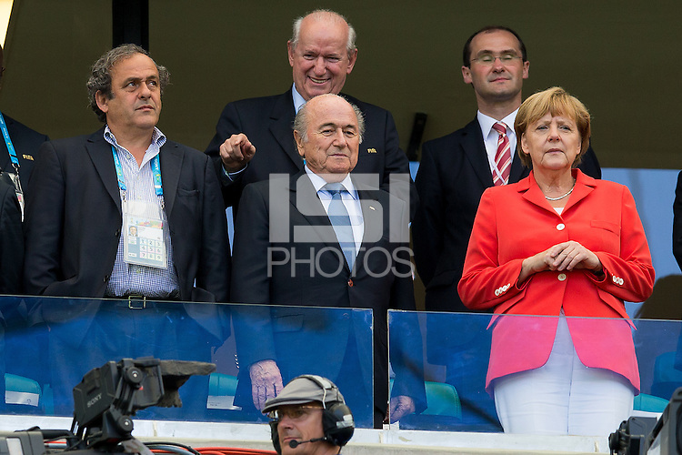 FIFA President Sepp Blatter and UEFA President Michelle Platini with The German Chancellor Angela Merkel