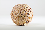 Rubber band ball in studio white background.