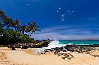 Makena Cove in Maui, Hawaii.  Also known as Secret Beach is a pristine location tucked out of the way in Maui.