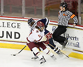 Kristina Lavoie (UNH - 10), Blake Bolden (BC - 10), Katie Guay - The Boston College Eagles and the visiting University of New Hampshire Wildcats played to a scoreless tie in BC's senior game on Saturday, February 19, 2011, at Conte Forum in Chestnut Hill, Massachusetts.