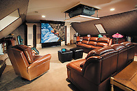 Media Room with Hidden Projector and Projector Screen