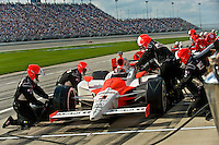 6-7 September 2008, Joliet, Illinois, USA.Helio Castroneves makes a pit stop..©F.Peirce Williams 2008.F. Peirce Williams.photography.ref: Capture via Nikon .NEF (RAW)