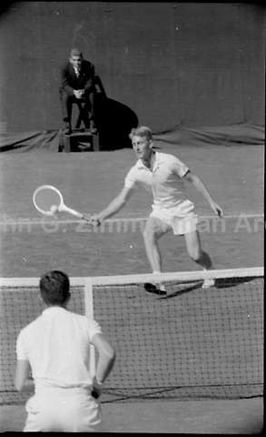 Australian tennis player Lew Hoad in final of the 1956 U.S. Men's National Championship against fellow Australian Ken Rosewall. West Side Tennis Club, Forest Hills, New York. Photograph by John G. Zimmerman.