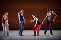 London, UK. 25.01.2015. Richard Alston Dance Company presents NOMADIC, part of a mixed bill also including Rejoice in the Lamb, Burning and Madcap, at Sadler's Wells, to celebrate the 20th anniversary of the company. This new piece was co-choreographed by Ajani Johnson-Goffe. Anther work in the bill, BURNING, was choreographed by Martin Lawrance. © Jane Hobson.