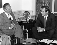 Minister of Defense Shimon Peres (left) of Israel visits United States Secretary of Defense Donald H. Rumsfeld in his Pentagon office in Washington, D.C. on December 16, 1975..Mandatory Credit:  Robert D. Ward / DoD via CNP /MediaPunch