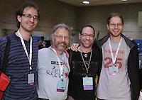 OrigamiUSA 2013 attendees (L to R) Benjamin Parker, Connecticut, Martin Demaine, Boston, Jeffrey Rutsky, New York, Eric Demaine, Boston.