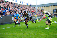 Semesa Rokoduguni of Bath Rugby runs in a try. Aviva Premiership match, between Bath Rugby and Sale Sharks on April 23, 2016 at the Recreation Ground in Bath, England. Photo by: Patrick Khachfe / Onside Images
