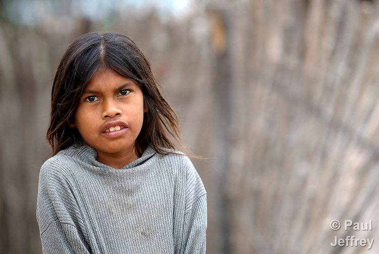 A Wichi indigenous girl in Los Dragones in the Chaco region of Argentina.